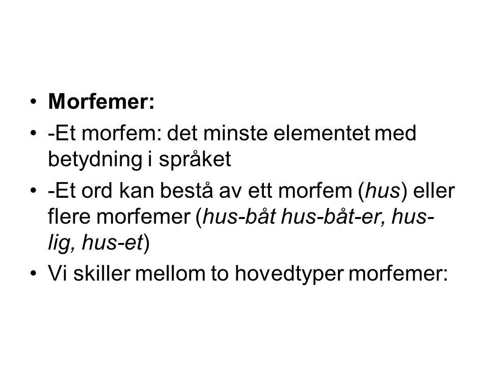 Morfemer: -Et morfem: det minste elementet med betydning i språket -Et ord kan bestå av ett morfem (hus) eller flere morfemer (hus-båt hus-båt-er, hus