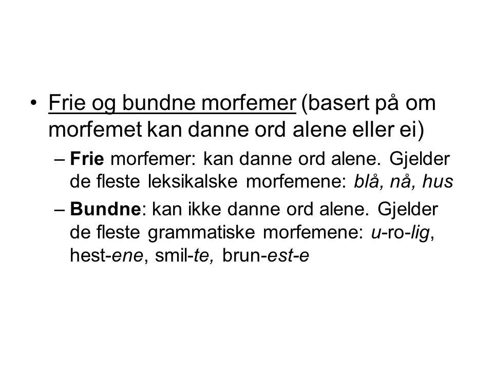 Frie og bundne morfemer (basert på om morfemet kan danne ord alene eller ei) –Frie morfemer: kan danne ord alene. Gjelder de fleste leksikalske morfem
