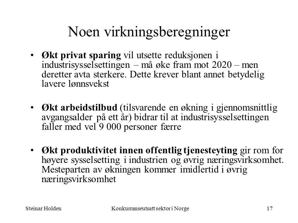 Steinar HoldenKonkurranseutsatt sektor i Norge17 Noen virkningsberegninger Økt privat sparing vil utsette reduksjonen i industrisysselsettingen – må øke fram mot 2020 – men deretter avta sterkere.