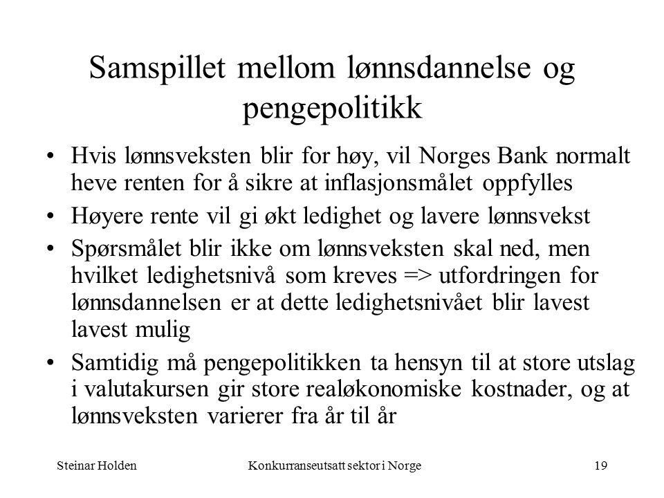 Steinar HoldenKonkurranseutsatt sektor i Norge19 Samspillet mellom lønnsdannelse og pengepolitikk Hvis lønnsveksten blir for høy, vil Norges Bank normalt heve renten for å sikre at inflasjonsmålet oppfylles Høyere rente vil gi økt ledighet og lavere lønnsvekst Spørsmålet blir ikke om lønnsveksten skal ned, men hvilket ledighetsnivå som kreves => utfordringen for lønnsdannelsen er at dette ledighetsnivået blir lavest lavest mulig Samtidig må pengepolitikken ta hensyn til at store utslag i valutakursen gir store realøkonomiske kostnader, og at lønnsveksten varierer fra år til år