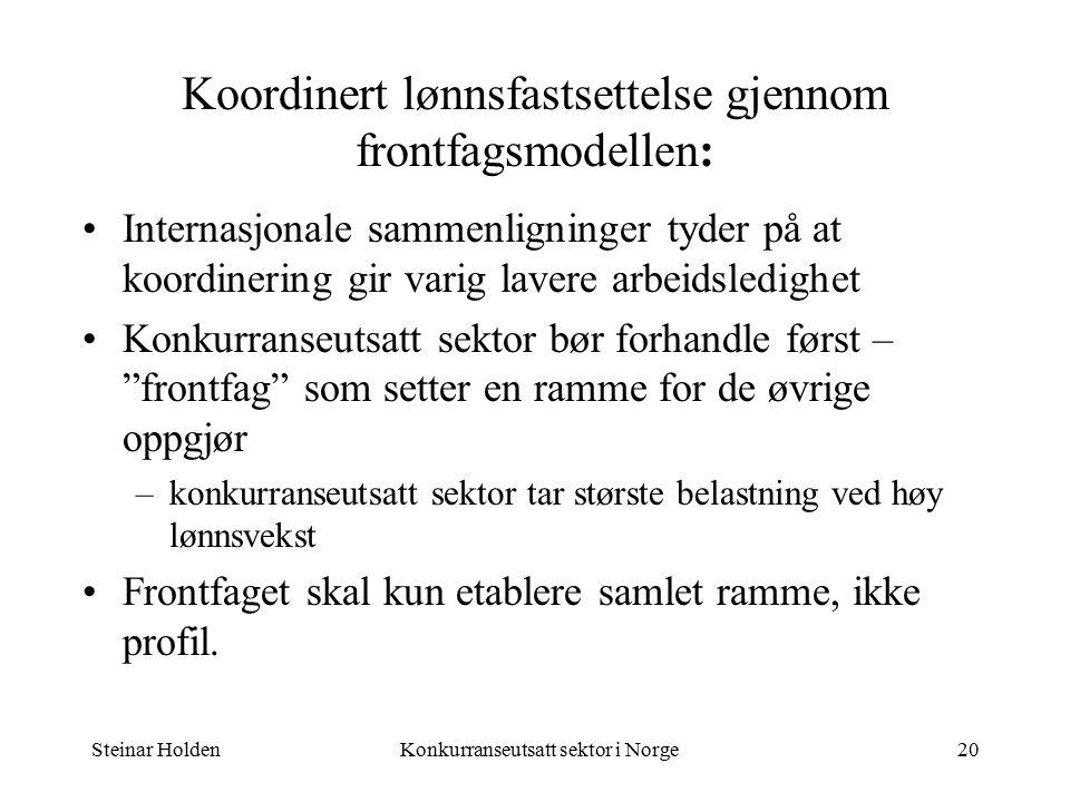 Steinar HoldenKonkurranseutsatt sektor i Norge20 Koordinert lønnsfastsettelse gjennom frontfagsmodellen: Internasjonale sammenligninger tyder på at koordinering gir varig lavere arbeidsledighet Konkurranseutsatt sektor bør forhandle først – frontfag som setter en ramme for de øvrige oppgjør –konkurranseutsatt sektor tar største belastning ved høy lønnsvekst Frontfaget skal kun etablere samlet ramme, ikke profil.