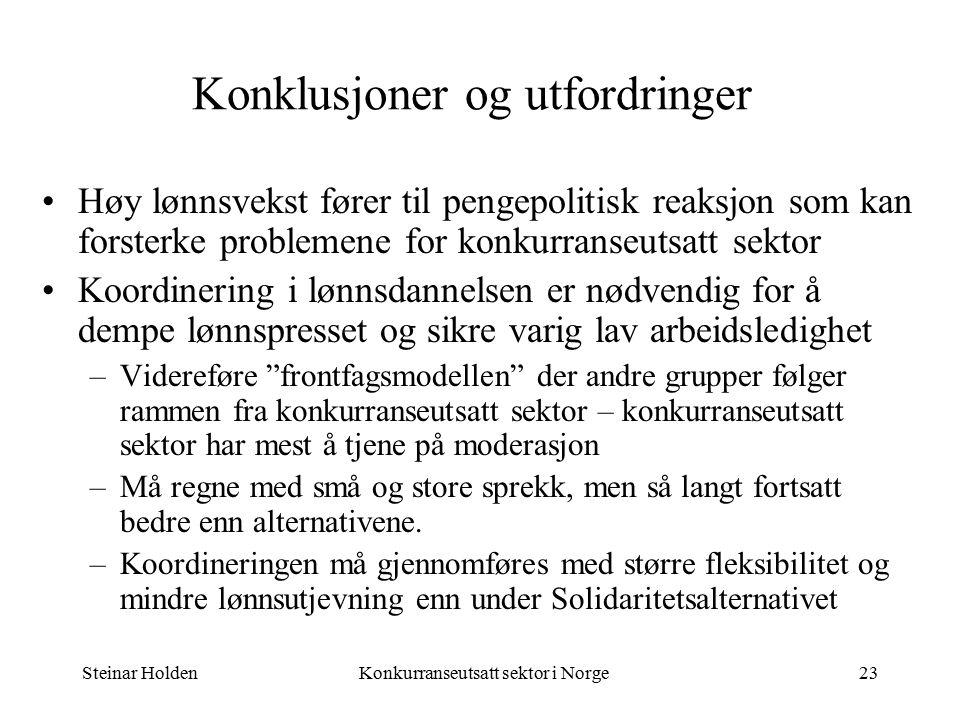 Steinar HoldenKonkurranseutsatt sektor i Norge23 Konklusjoner og utfordringer Høy lønnsvekst fører til pengepolitisk reaksjon som kan forsterke problemene for konkurranseutsatt sektor Koordinering i lønnsdannelsen er nødvendig for å dempe lønnspresset og sikre varig lav arbeidsledighet –Videreføre frontfagsmodellen der andre grupper følger rammen fra konkurranseutsatt sektor – konkurranseutsatt sektor har mest å tjene på moderasjon –Må regne med små og store sprekk, men så langt fortsatt bedre enn alternativene.