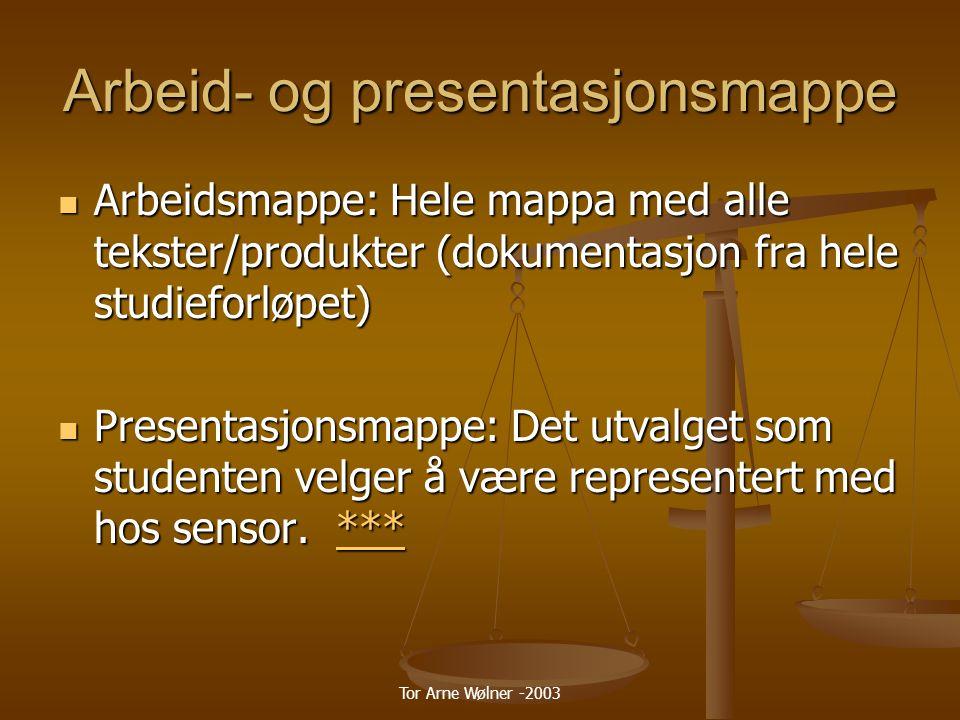 Tor Arne Wølner -2003 Arbeid- og presentasjonsmappe Arbeidsmappe: Hele mappa med alle tekster/produkter (dokumentasjon fra hele studieforløpet) Arbeidsmappe: Hele mappa med alle tekster/produkter (dokumentasjon fra hele studieforløpet) Presentasjonsmappe: Det utvalget som studenten velger å være representert med hos sensor.
