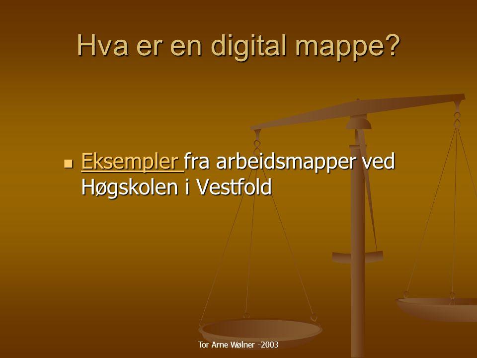 Tor Arne Wølner -2003 Hva er en digital mappe.
