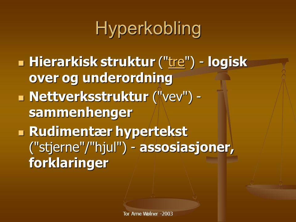 Tor Arne Wølner -2003 Hyperkobling Hierarkisk struktur ( tre ) - logisk over og underordning Hierarkisk struktur ( tre ) - logisk over og underordningtre Nettverksstruktur ( vev ) - sammenhenger Nettverksstruktur ( vev ) - sammenhenger Rudimentær hypertekst ( stjerne / hjul ) - assosiasjoner, forklaringer Rudimentær hypertekst ( stjerne / hjul ) - assosiasjoner, forklaringer