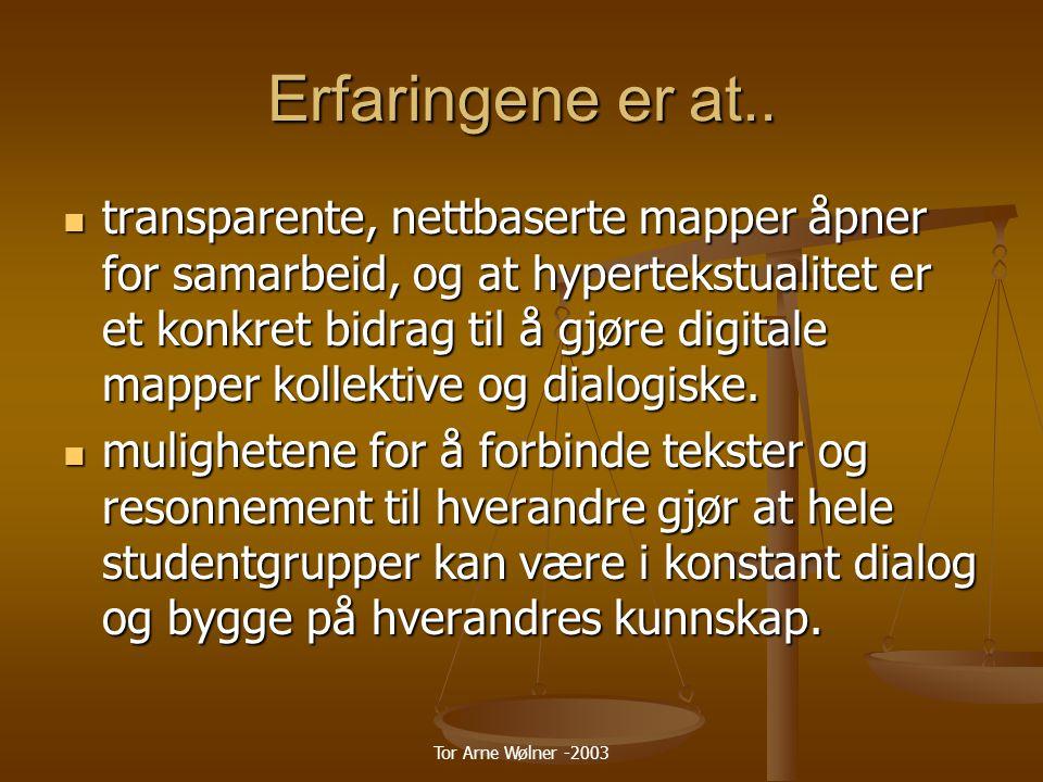 Tor Arne Wølner -2003 Erfaringene er at..