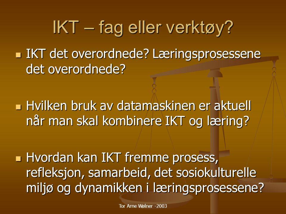 Tor Arne Wølner -2003 IKT som verktøy i læreprosesser Mappemetodikk Mappemetodikk Metodikk og didaktisk arbeid i ny drakt med IKT i fag og tverrfaglig arbeid.