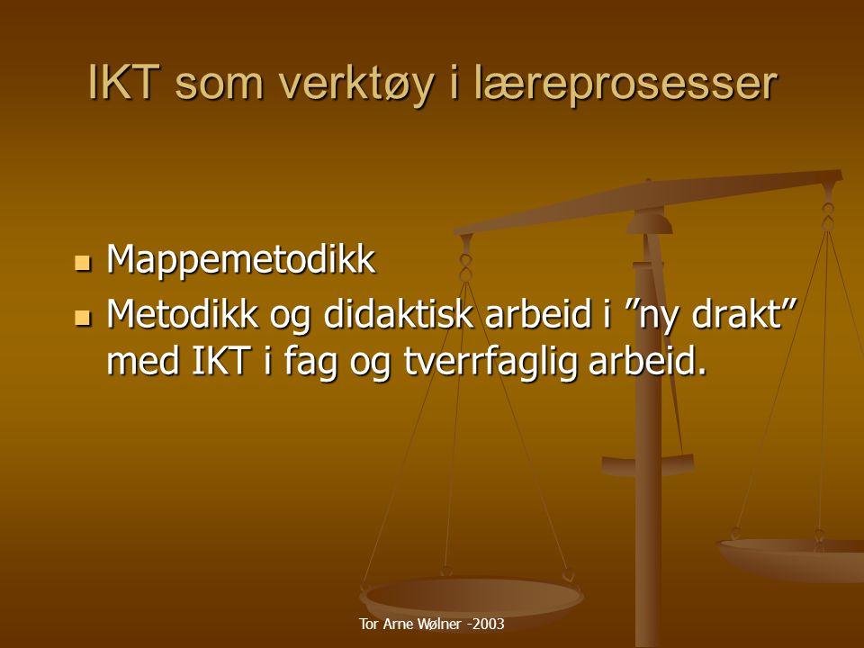 Tor Arne Wølner -2003 Hva er en mappe En systematisk samling elevarbeider som viser innsats, framskritt og prestasjoner innen ett eller flere områder.