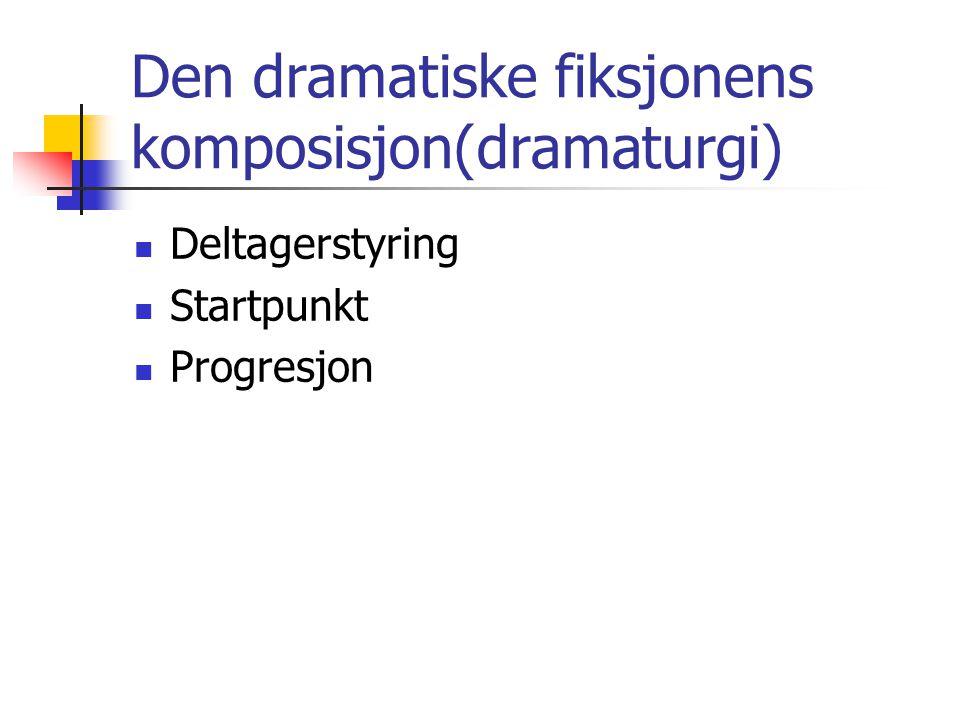 Den dramatiske fiksjonens komposisjon(dramaturgi) Deltagerstyring Startpunkt Progresjon