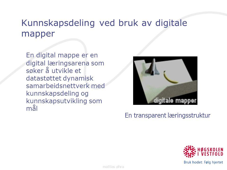 Kunnskapsdeling ved bruk av digitale mapper En digital mappe er en digital læringsarena som søker å utvikle et datastøttet dynamisk samarbeidsnettverk med kunnskapsdeling og kunnskapsutvikling som mål En transparent læringsstruktur mattias øhra