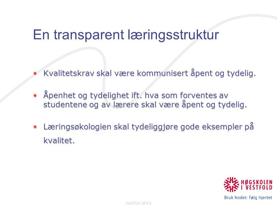 En transparent læringsstruktur Kvalitetskrav skal være kommunisert åpent og tydelig.Kvalitetskrav skal være kommunisert åpent og tydelig.