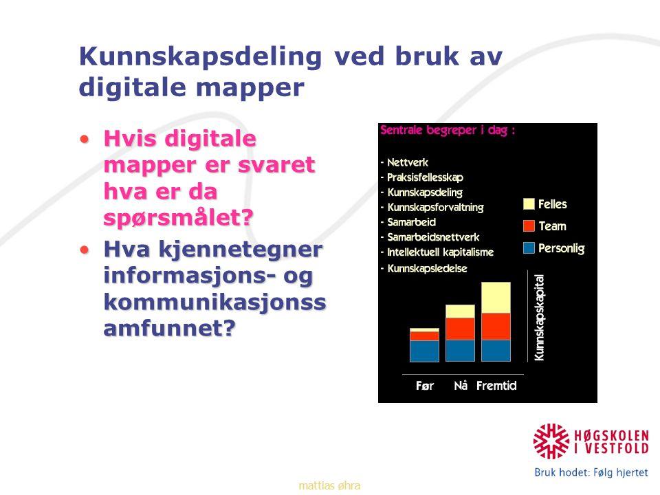 Kunnskapsdeling ved bruk av digitale mapper Hvis digitale mapper er svaret hva er da spørsmålet Hvis digitale mapper er svaret hva er da spørsmålet.