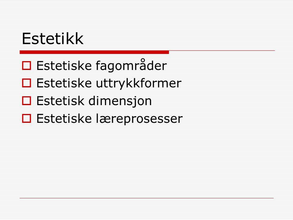 Estetikk  Estetiske fagområder  Estetiske uttrykkformer  Estetisk dimensjon  Estetiske læreprosesser
