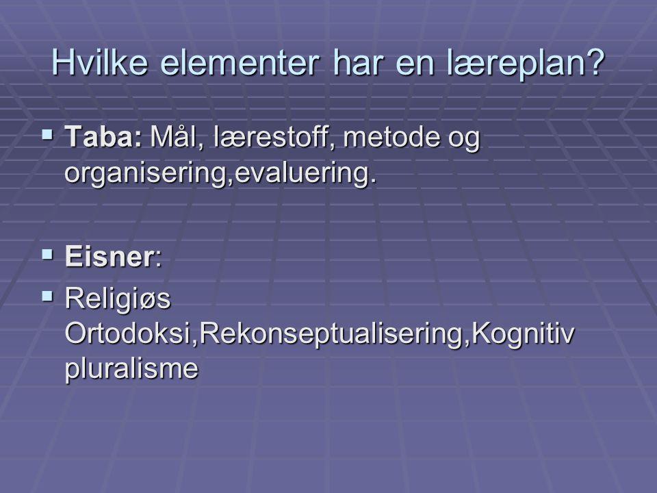 Hvilke elementer har en læreplan?  Taba: Mål, lærestoff, metode og organisering,evaluering.  Eisner:  Religiøs Ortodoksi,Rekonseptualisering,Kognit