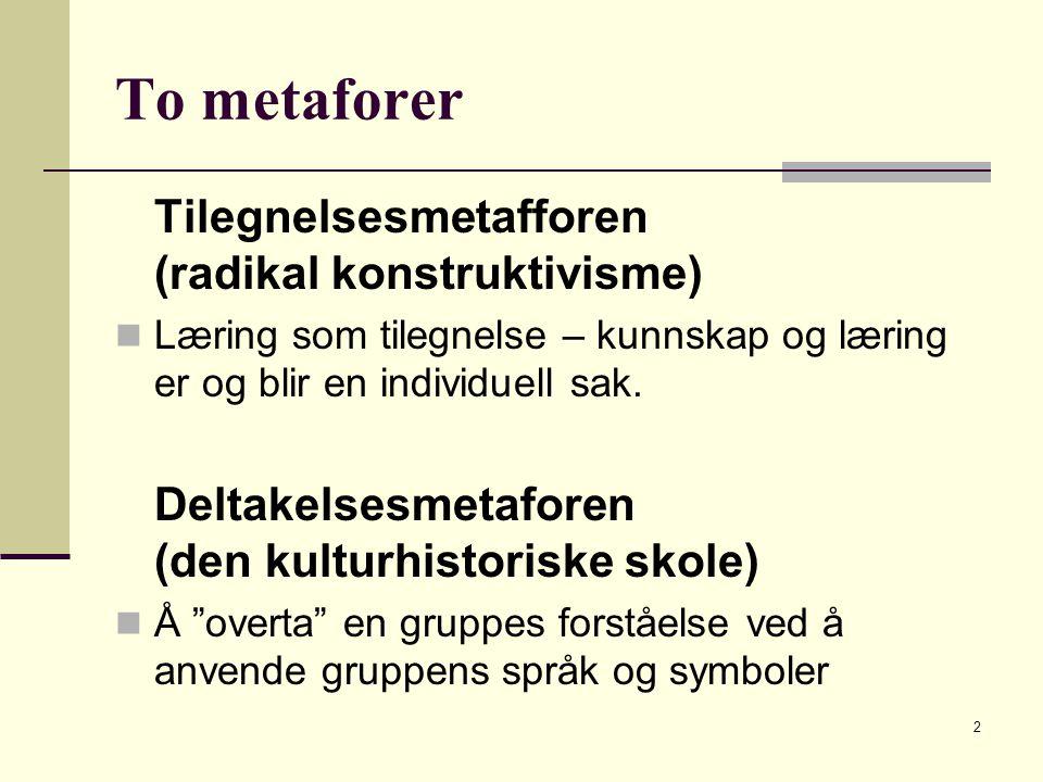 2 To metaforer Tilegnelsesmetafforen (radikal konstruktivisme) Læring som tilegnelse – kunnskap og læring er og blir en individuell sak.