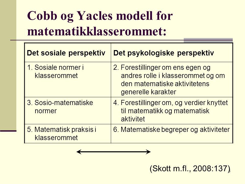 5 Cobb og Yacles modell for matematikklasserommet: Det sosiale perspektivDet psykologiske perspektiv 1.