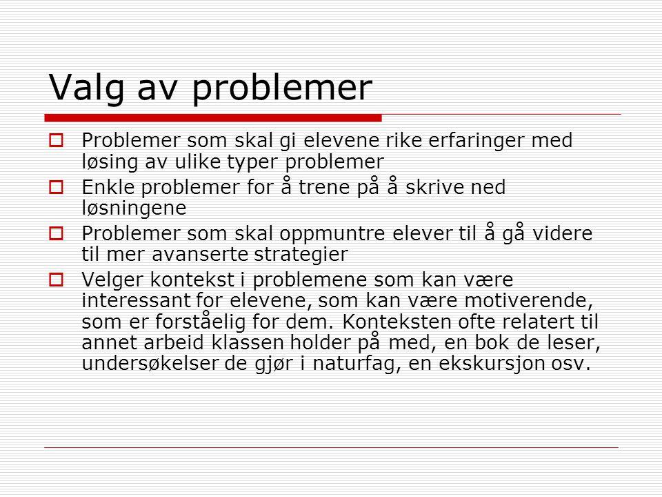 Valg av problemer  Problemer som skal gi elevene rike erfaringer med løsing av ulike typer problemer  Enkle problemer for å trene på å skrive ned lø