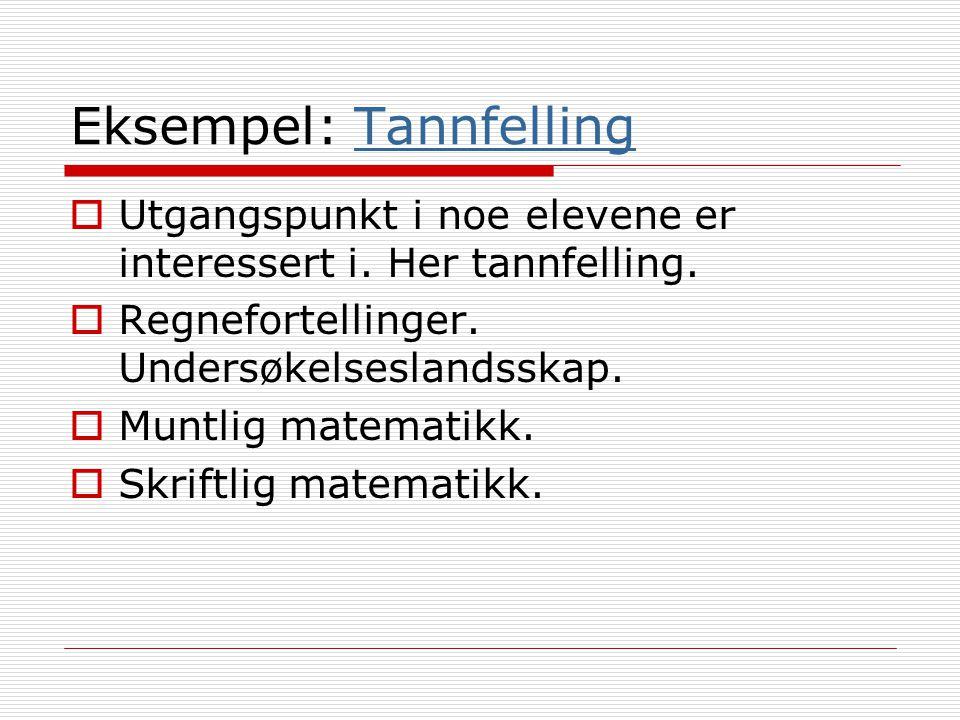 Eksempel: TannfellingTannfelling  Utgangspunkt i noe elevene er interessert i. Her tannfelling.  Regnefortellinger. Undersøkelseslandsskap.  Muntli