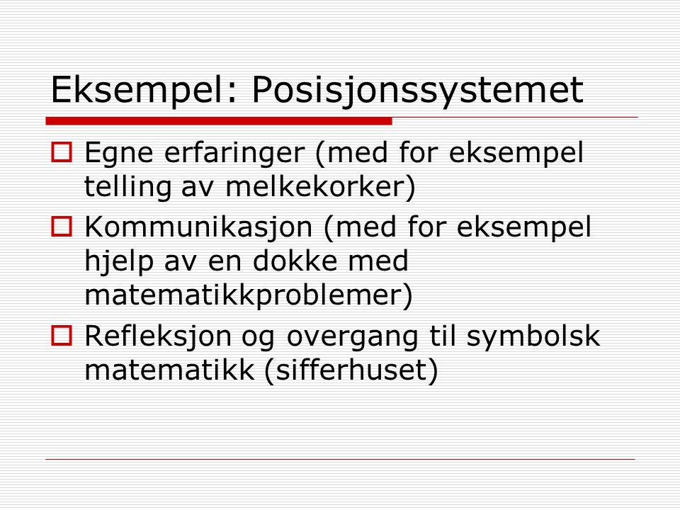 Eksempel: Posisjonssystemet  Egne erfaringer (med for eksempel telling av melkekorker)  Kommunikasjon (med for eksempel hjelp av en dokke med matema