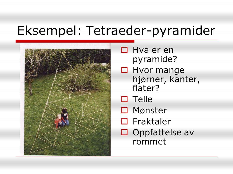 Eksempel: Tetraeder-pyramider  Hva er en pyramide?  Hvor mange hjørner, kanter, flater?  Telle  Mønster  Fraktaler  Oppfattelse av rommet
