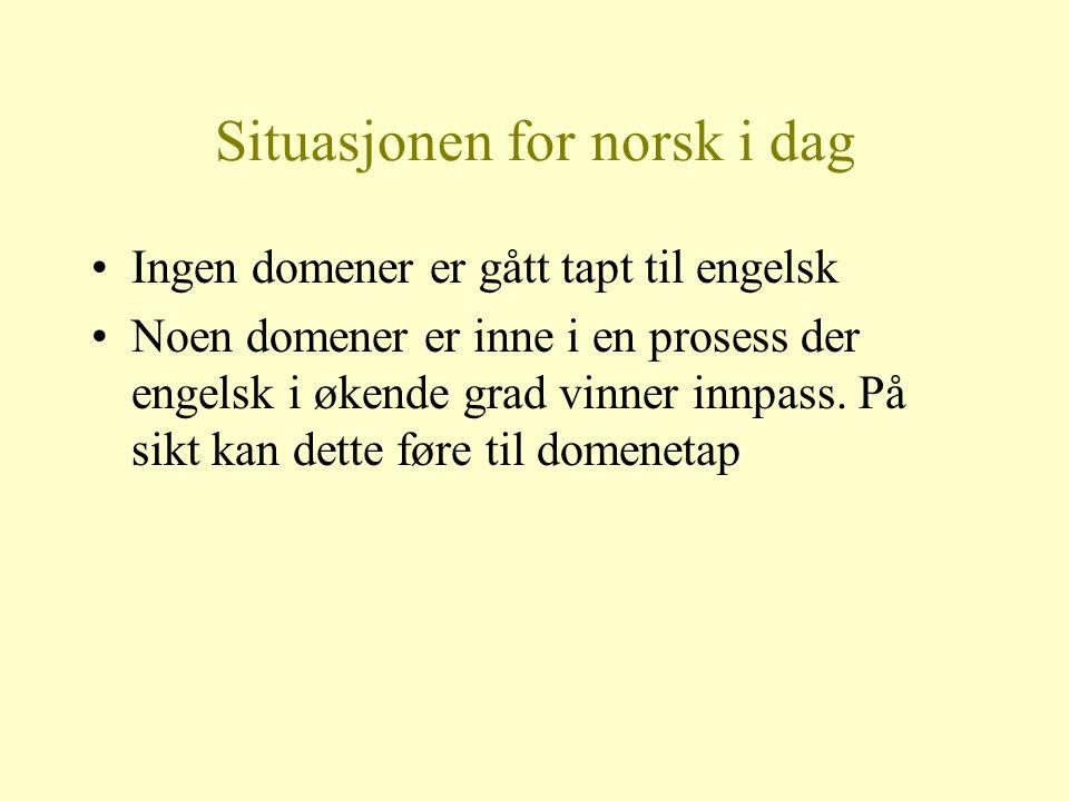 Situasjonen for norsk i dag Ingen domener er gått tapt til engelsk Noen domener er inne i en prosess der engelsk i økende grad vinner innpass. På sikt