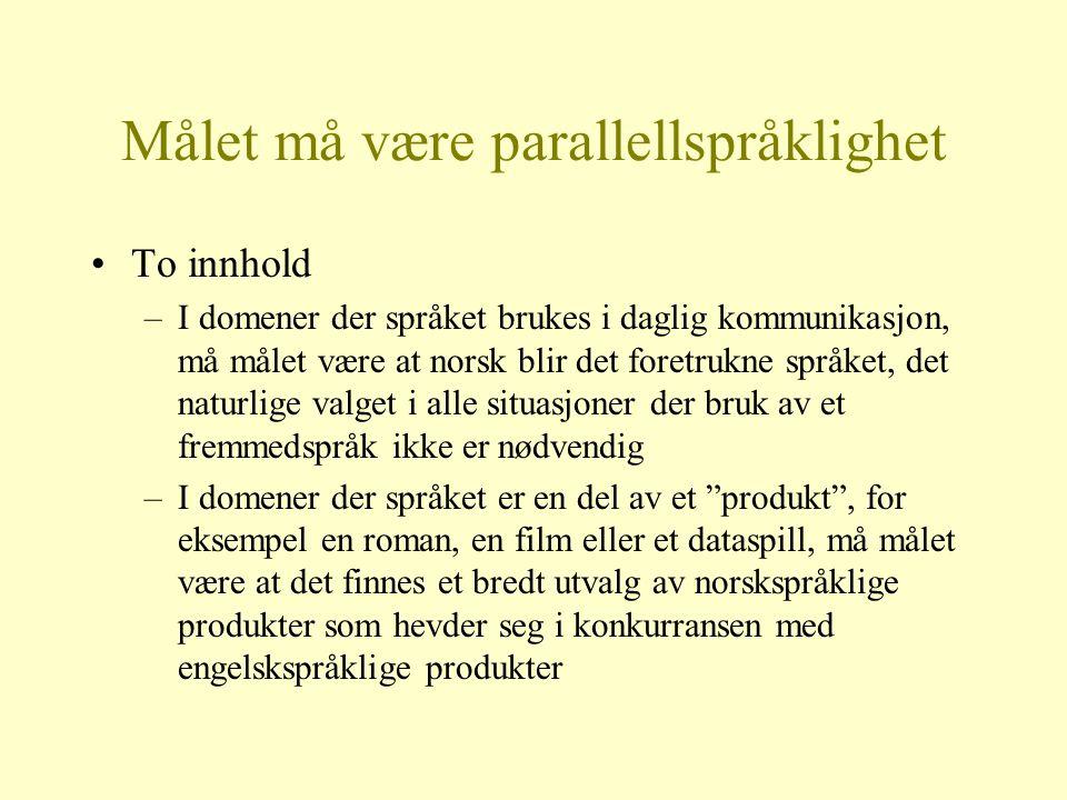 Målet må være parallellspråklighet To innhold –I domener der språket brukes i daglig kommunikasjon, må målet være at norsk blir det foretrukne språket
