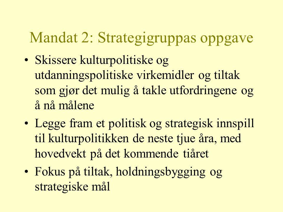 Mandat 2: Strategigruppas oppgave Skissere kulturpolitiske og utdanningspolitiske virkemidler og tiltak som gjør det mulig å takle utfordringene og å