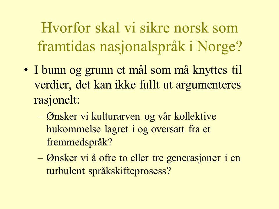 Hvorfor skal vi sikre norsk som framtidas nasjonalspråk i Norge? I bunn og grunn et mål som må knyttes til verdier, det kan ikke fullt ut argumenteres