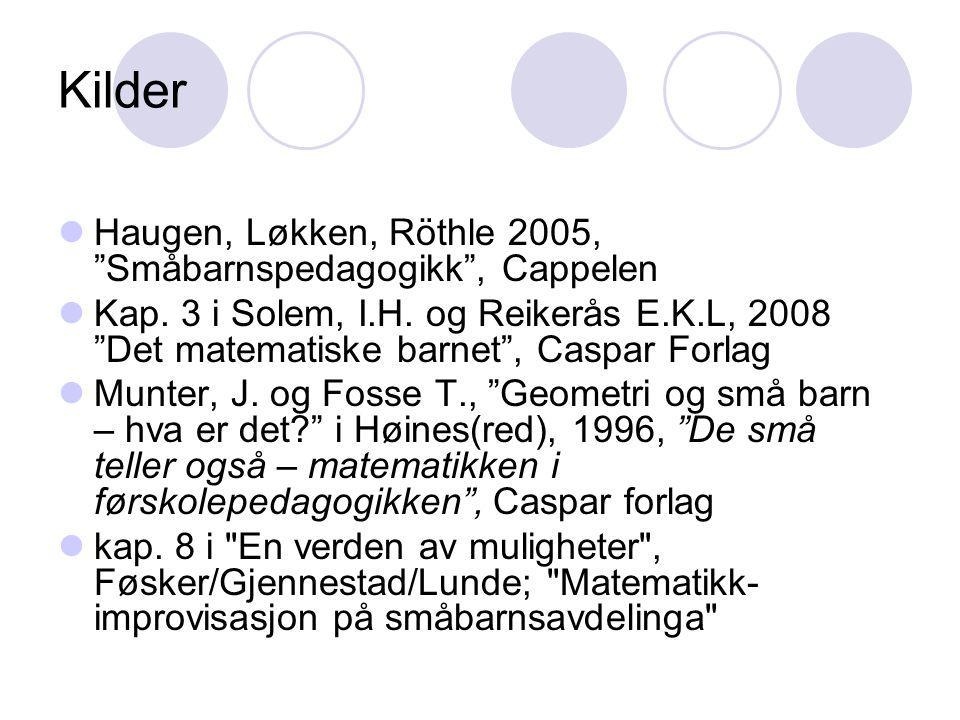 Kilder Haugen, Løkken, Röthle 2005, Småbarnspedagogikk , Cappelen Kap.