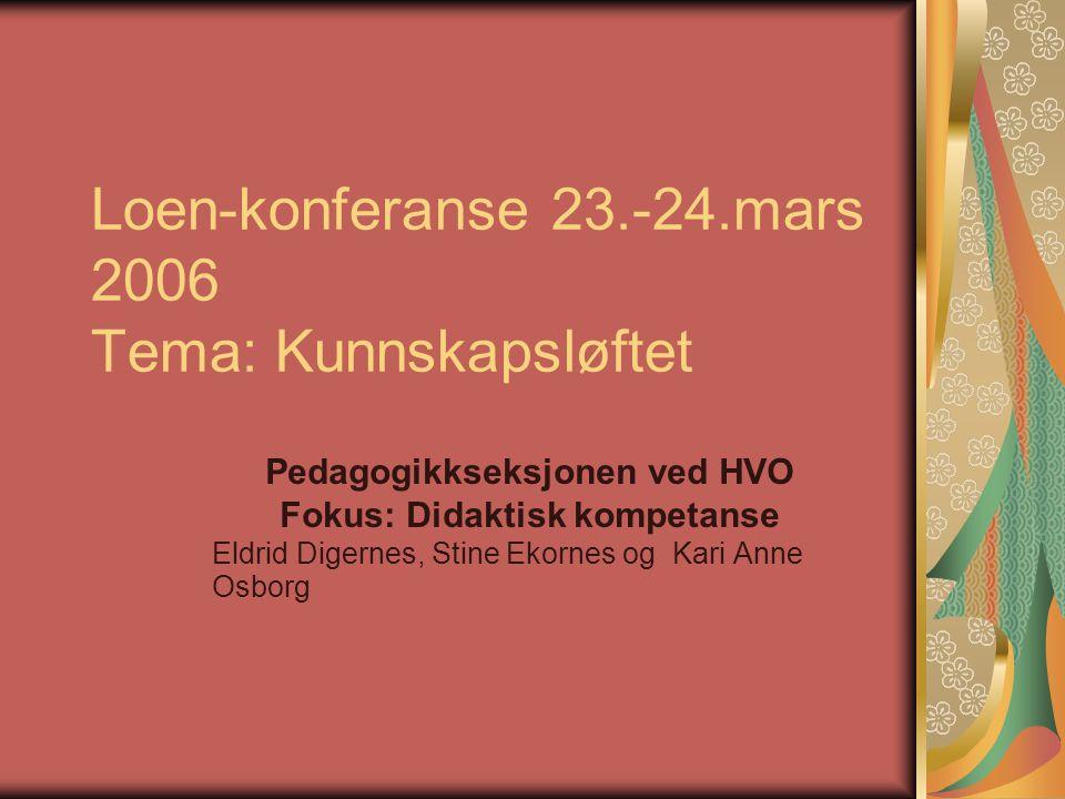 Loen-konferanse 23.-24.mars 2006 Tema: Kunnskapsløftet Pedagogikkseksjonen ved HVO Fokus: Didaktisk kompetanse Eldrid Digernes, Stine Ekornes og Kari Anne Osborg