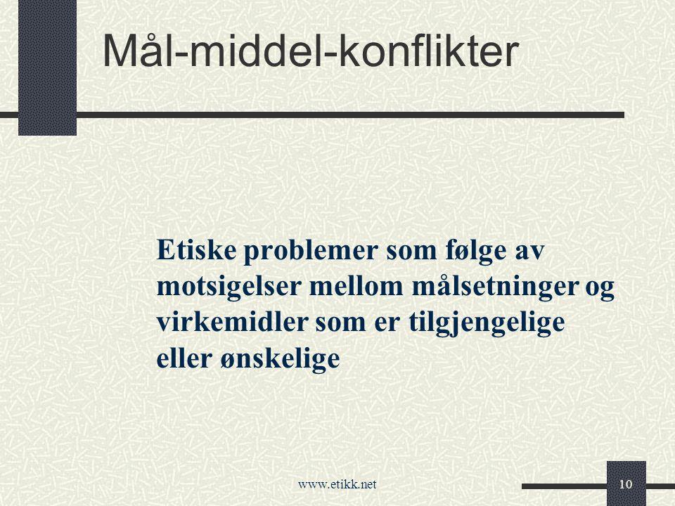 www.etikk.net10 Mål-middel-konflikter Etiske problemer som følge av motsigelser mellom målsetninger og virkemidler som er tilgjengelige eller ønskelige