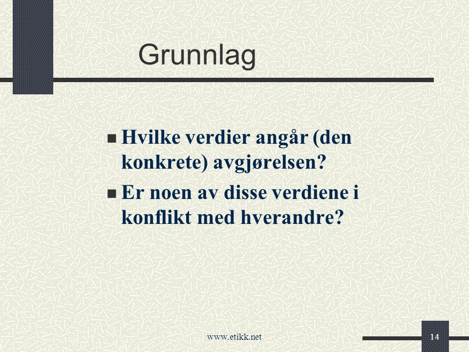 www.etikk.net14 Grunnlag Hvilke verdier angår (den konkrete) avgjørelsen.