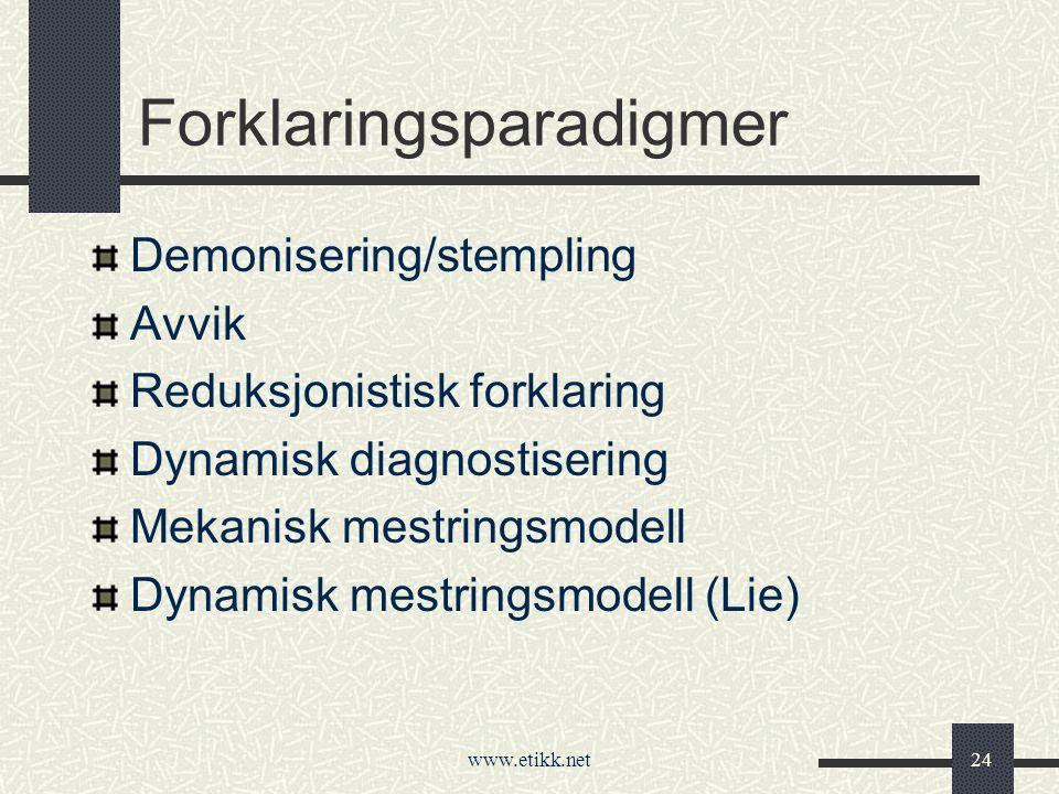 www.etikk.net24 Forklaringsparadigmer Demonisering/stempling Avvik Reduksjonistisk forklaring Dynamisk diagnostisering Mekanisk mestringsmodell Dynamisk mestringsmodell (Lie)