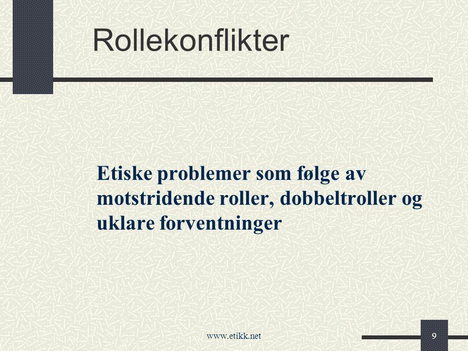www.etikk.net9 Rollekonflikter Etiske problemer som følge av motstridende roller, dobbeltroller og uklare forventninger