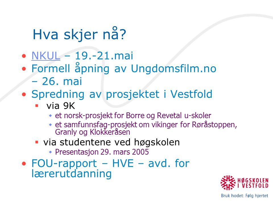 Hva skjer nå? NKUL – 19.-21.maiNKUL Formell åpning av Ungdomsfilm.no – 26. mai Spredning av prosjektet i Vestfold  via 9K  et norsk-prosjekt for Bor