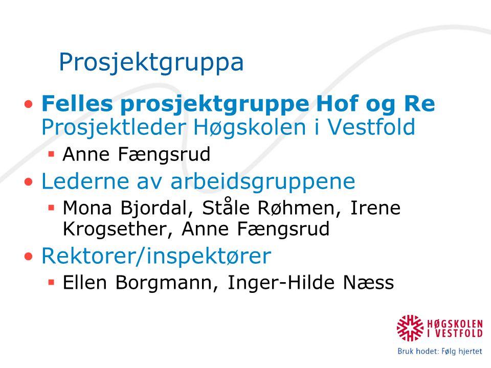 Prosjektgruppa Felles prosjektgruppe Hof og Re Prosjektleder Høgskolen i Vestfold  Anne Fængsrud Lederne av arbeidsgruppene  Mona Bjordal, Ståle Røh
