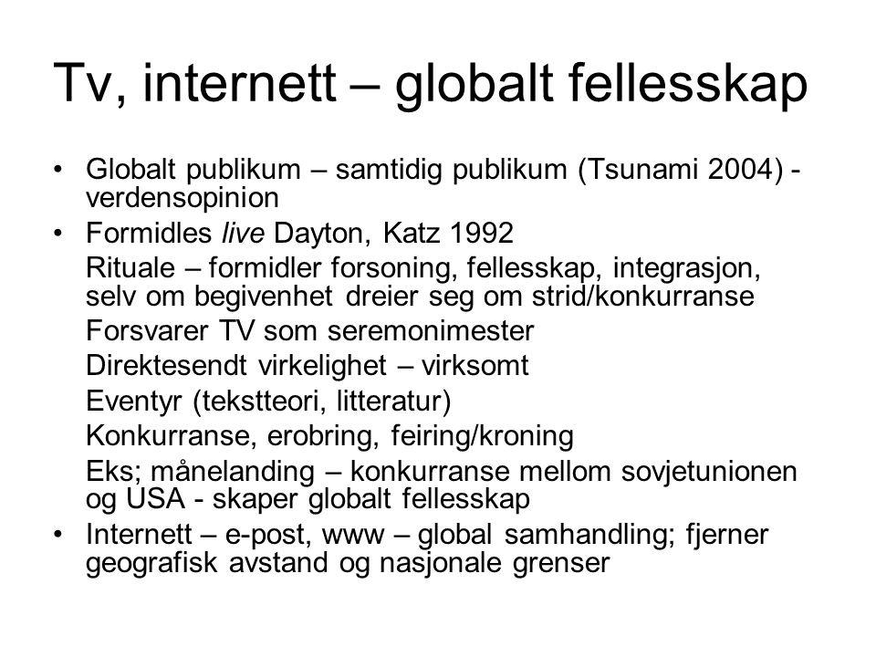 Tv, internett – globalt fellesskap Globalt publikum – samtidig publikum (Tsunami 2004) - verdensopinion Formidles live Dayton, Katz 1992 Rituale – for
