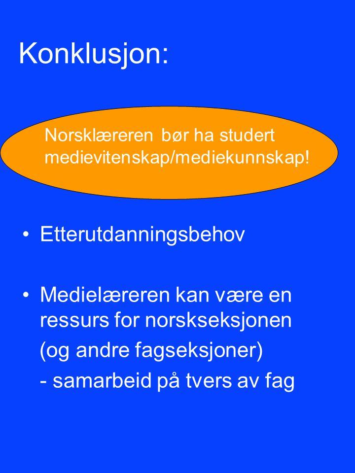 Konklusjon: Etterutdanningsbehov Medielæreren kan være en ressurs for norskseksjonen (og andre fagseksjoner) - samarbeid på tvers av fag Norsklæreren