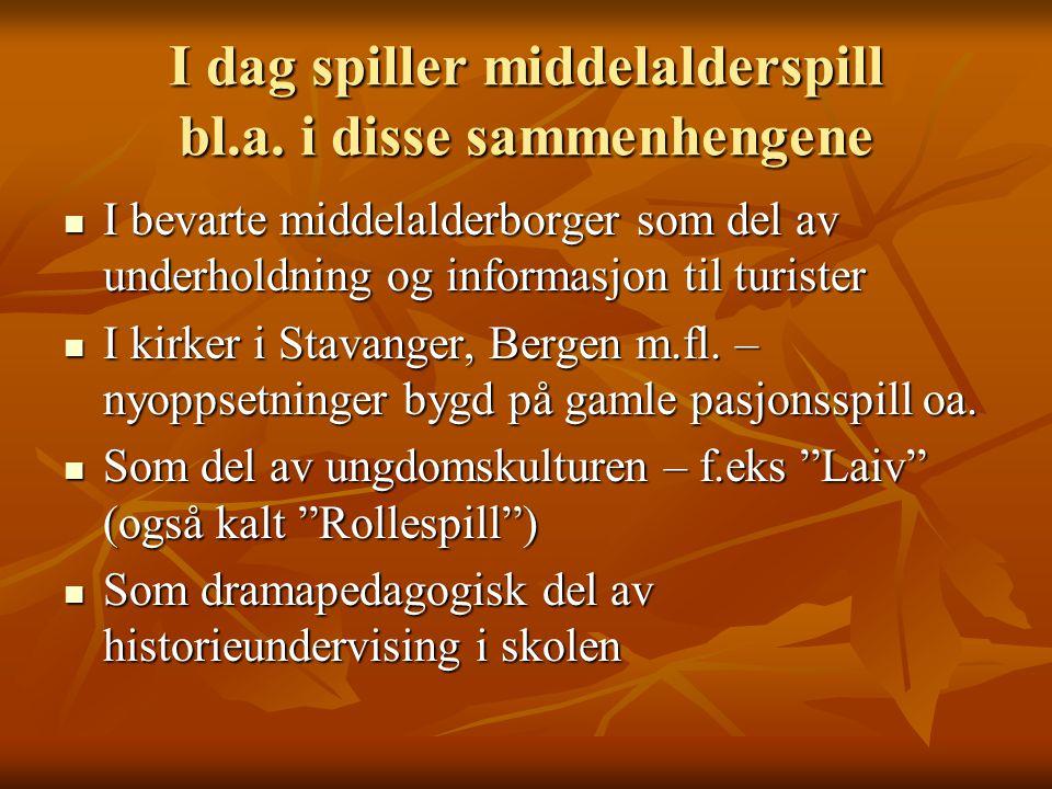 I dag spiller middelalderspill bl.a. i disse sammenhengene I bevarte middelalderborger som del av underholdning og informasjon til turister I bevarte