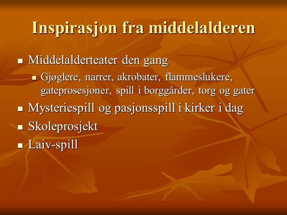 Inspirasjon fra middelalderen Middelalderteater den gang Middelalderteater den gang Gjøglere, narrer, akrobater, flammeslukere, gateprosesjoner, spill