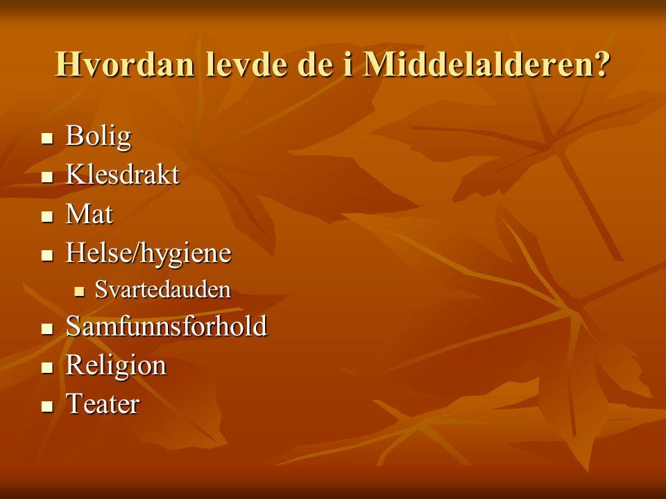 Hvordan levde de i Middelalderen? Bolig Bolig Klesdrakt Klesdrakt Mat Mat Helse/hygiene Helse/hygiene Svartedauden Svartedauden Samfunnsforhold Samfun