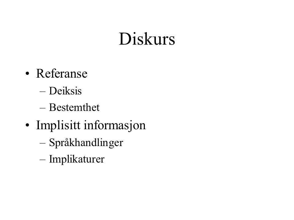 Referanse –Deiksis –Bestemthet Implisitt informasjon –Språkhandlinger –Implikaturer