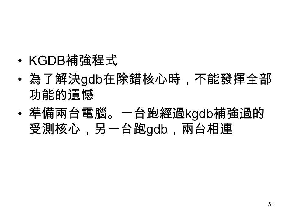 31 KGDB 補強程式 為了解決 gdb 在除錯核心時,不能發揮全部 功能的遺憾 準備兩台電腦。一台跑經過 kgdb 補強過的 受測核心,另一台跑 gdb ,兩台相連