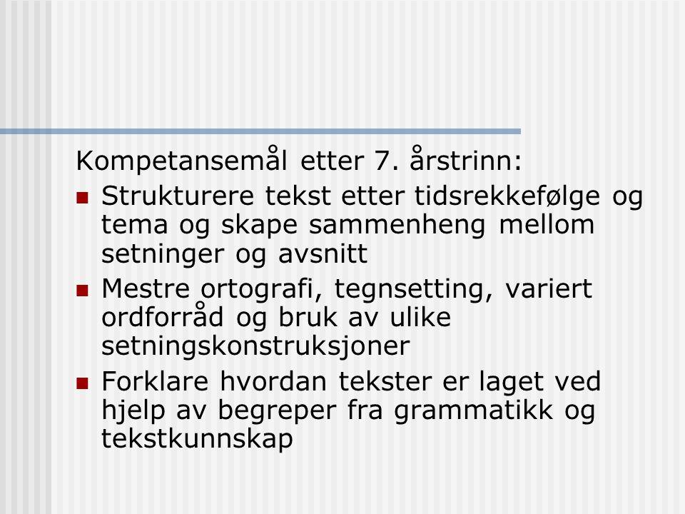 Kompetansemål etter 7. årstrinn: Strukturere tekst etter tidsrekkefølge og tema og skape sammenheng mellom setninger og avsnitt Mestre ortografi, tegn