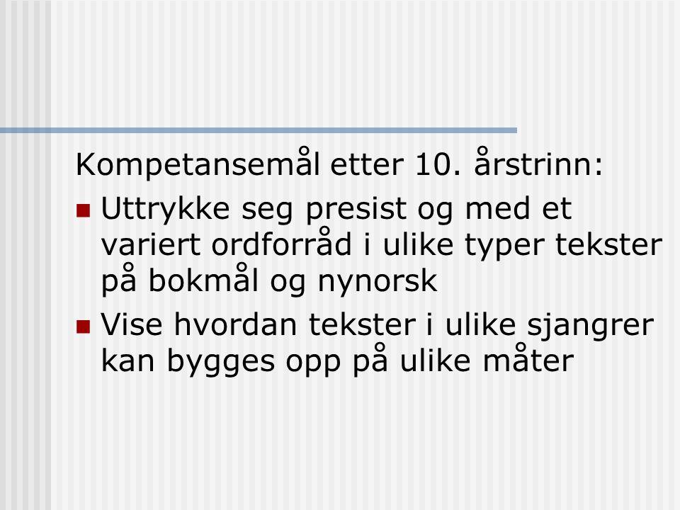 Kompetansemål etter 10. årstrinn: Uttrykke seg presist og med et variert ordforråd i ulike typer tekster på bokmål og nynorsk Vise hvordan tekster i u