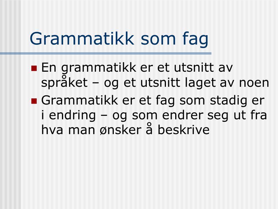 Grammatikk som fag En grammatikk er et utsnitt av språket – og et utsnitt laget av noen Grammatikk er et fag som stadig er i endring – og som endrer s