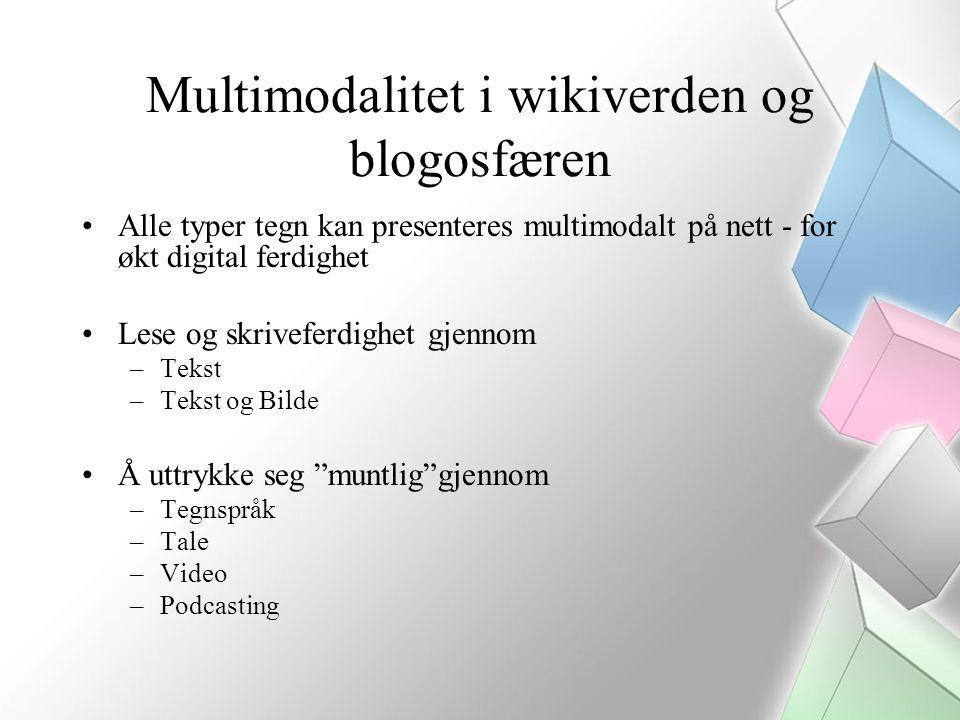 Multimodalitet i wikiverden og blogosfæren Alle typer tegn kan presenteres multimodalt på nett - for økt digital ferdighet Lese og skriveferdighet gjennom –Tekst –Tekst og Bilde Å uttrykke seg muntlig gjennom –Tegnspråk –Tale –Video –Podcasting