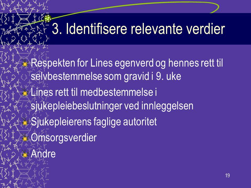 19 3. Identifisere relevante verdier Respekten for Lines egenverd og hennes rett til selvbestemmelse som gravid i 9. uke Lines rett til medbestemmelse