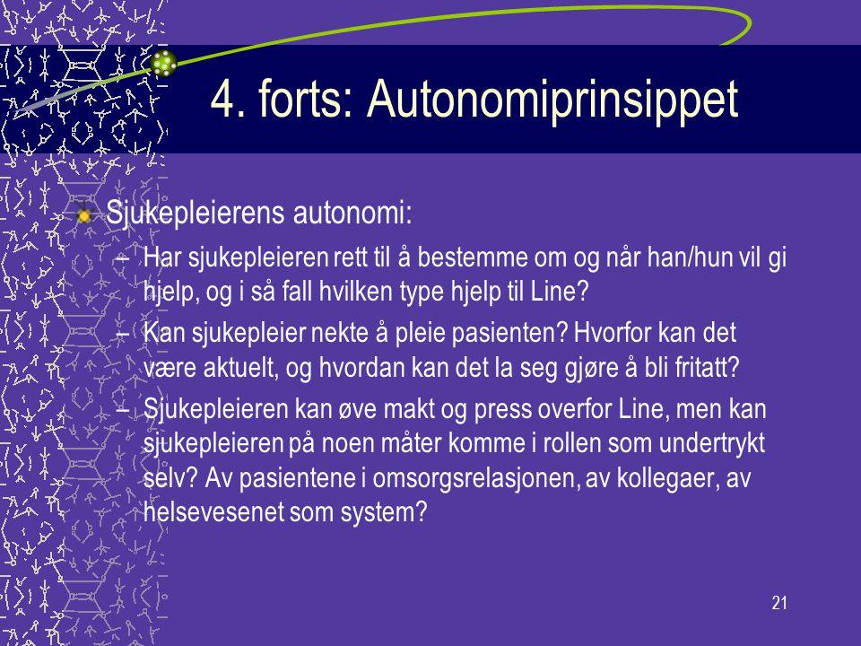 21 4. forts: Autonomiprinsippet Sjukepleierens autonomi: –Har sjukepleieren rett til å bestemme om og når han/hun vil gi hjelp, og i så fall hvilken t