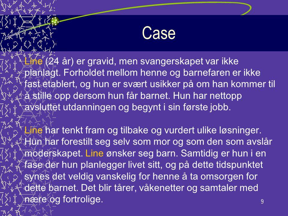 9 Case Line (24 år) er gravid, men svangerskapet var ikke planlagt. Forholdet mellom henne og barnefaren er ikke fast etablert, og hun er svært usikke